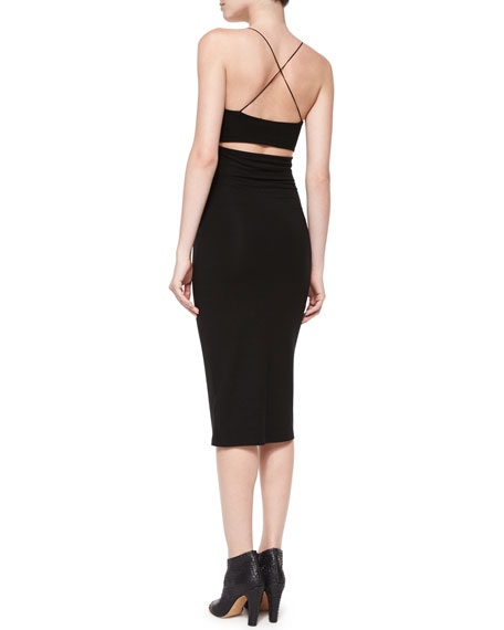 Stretch Cutout-Back Tank Dress, Black