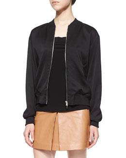 Stretch-Silk Twill Bomber Jacket