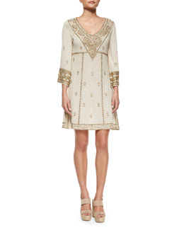 Embroidered 3/4-Sleeve V-Neck Dress, Cream