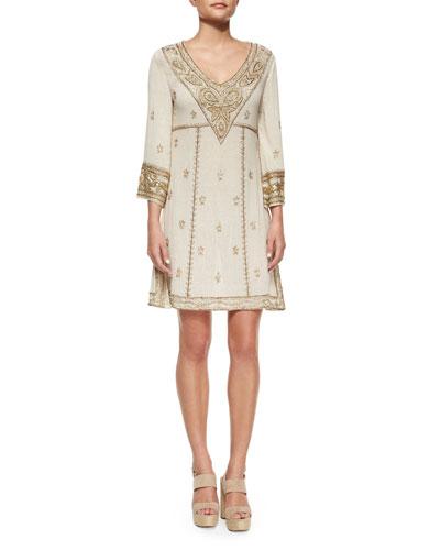 Embroidered 3/4-Sleeve V-Neck Dress, Cream