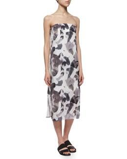 Strapless Crypsis-Print Dress