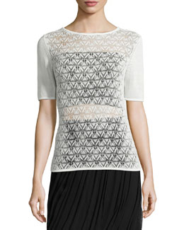 Martine Short-Sleeve Crochet-Front Sweater