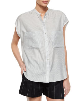 Manon Cap-Sleeve Striped Shirt