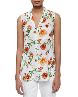 Sleeveless Silk Keira Tank, Sunkissed