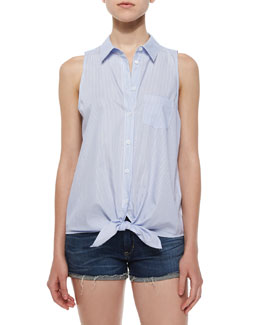 Mina Sleeveless Tie-Front Blouse, Periwinkle Blue