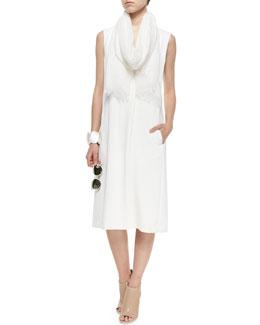 V-Neck A-Line Crepe Dress