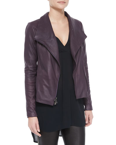 Scuba-Style Leather Jacket, Rutabaga