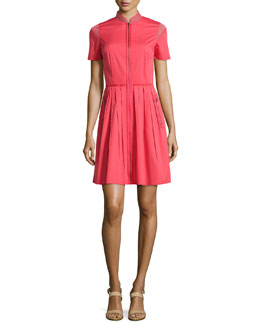 Rudy Short-Sleeve Pleated Shirtdress