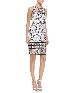 Surrealist Fil Coupe Sheath Dress, White/Black