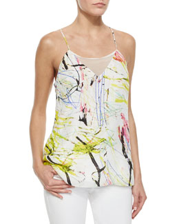 Sophia Silk Racerback Scribble Tank, White/Yellow/Multicolor
