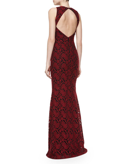 Roxie Lace Diamond-Back Dress, Red