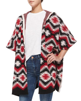 Henrietta Hooded Tribal-Print Topper Jacket