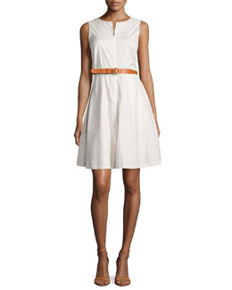 Gralista Belted Stretch Poplin Dress