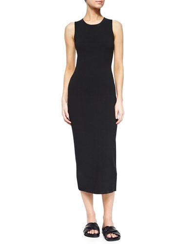 Vysa Prosecco Open-Back Midi Dress, Black/White