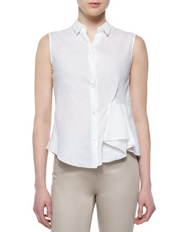 Biaz Sleeveless Ruffled Gauze Blouse