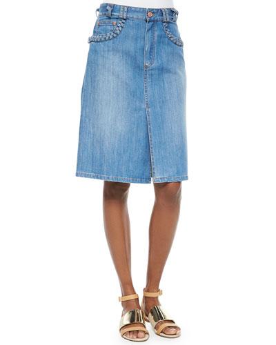 Denim Skirt with Braid-Trim
