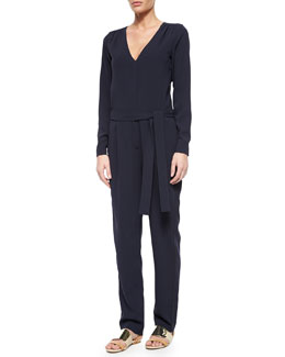 Long-Sleeve Tie-Waist Crepe Jumpsuit