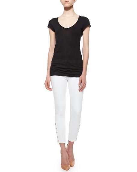 Suvi Cropped Button-Cuff Skinny Jeans, White