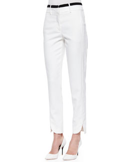 Slim Striped-Waist Cotton Pants