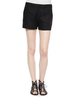 Leiden Solid Linen Shorts, Caviar