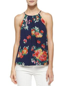 Anatese B Floral Ikat-Print Top