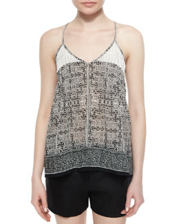 Leif Geo-Print Embroidered Tank Top