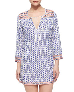 Daria Geo-Print Coverup Tunic Dress