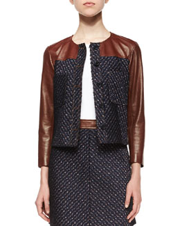 Tieron Leather-Sleeve Tweed Jacket
