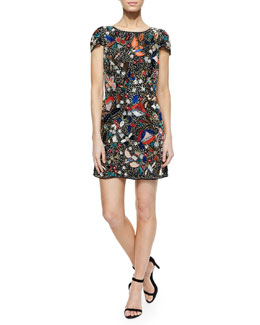 Ellen Beaded Sequined Mesh Dress
