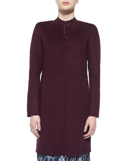Collarless Wool Coat W/ Raised Seams