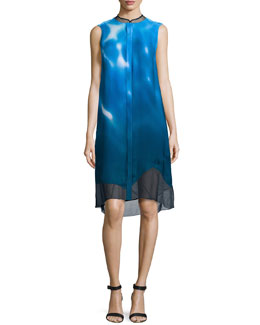 Deanna Sleeveless Wave-Print Dress