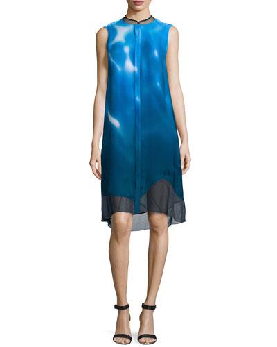 Deanna Sleeveless Wave-Print Dress