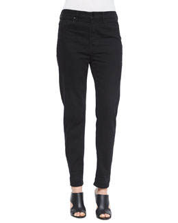 High-Waist Straight-Leg Boyfriend Jeans, Black Fade