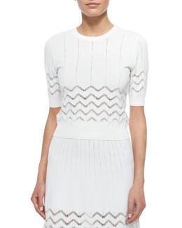 Vincent Short-Sleeve Zigzag-Stitch Top