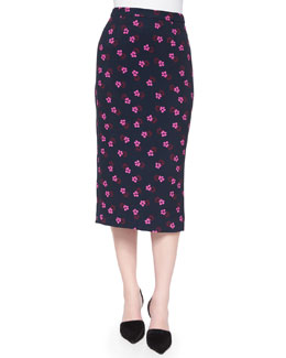 Bell Mallow-Print Midi Pencil Skirt