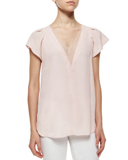 Crepe V-Neck Top w/Chiffon Trim, Faded Blossom