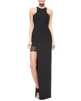 Tegan High-Slit Chiffon Maxi Dress, Black