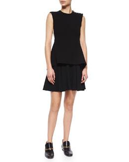 Sleeveless Split-Back Dress W/ Flared Skirt
