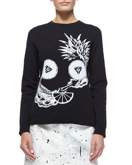 Crewneck Fruit Intarsia Top
