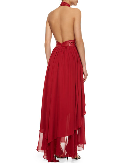 Chiffon Belted Halter Evening Dress, Cherry
