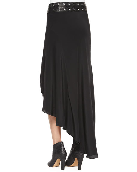 Asymmetric Silk Skirt with Leather Belt