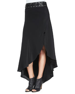 Asymmetric Silk Skirt with Leather Belt