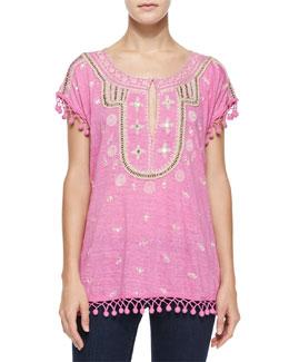 Ordia Embroidered Linen Tee w/ Pom Poms, Stargazer