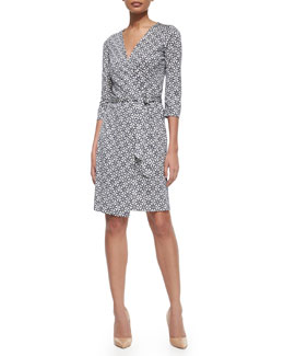 Medallion-Print Silk Wrap Dress, Navy/White