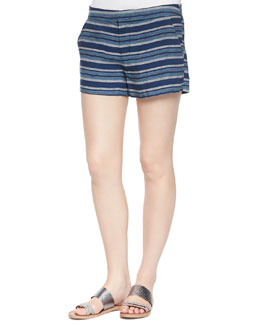 Merci Low-Rise Striped Shorts, Dark Navy