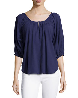 Nancy Scoop-Neck Cotton Blouse