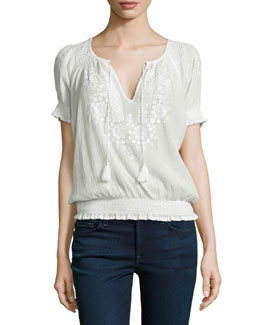 Jamine Embroidered Crepe Blouse, Porcelain/New Moon