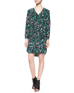 Elm Long-Sleeve Vine-Print Shirtdress