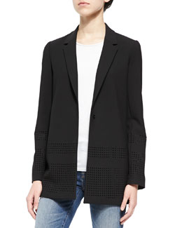 Franco Perforated Crepe Blazer