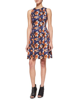 Grace Leaf-Print Fit-and-Flare Dress